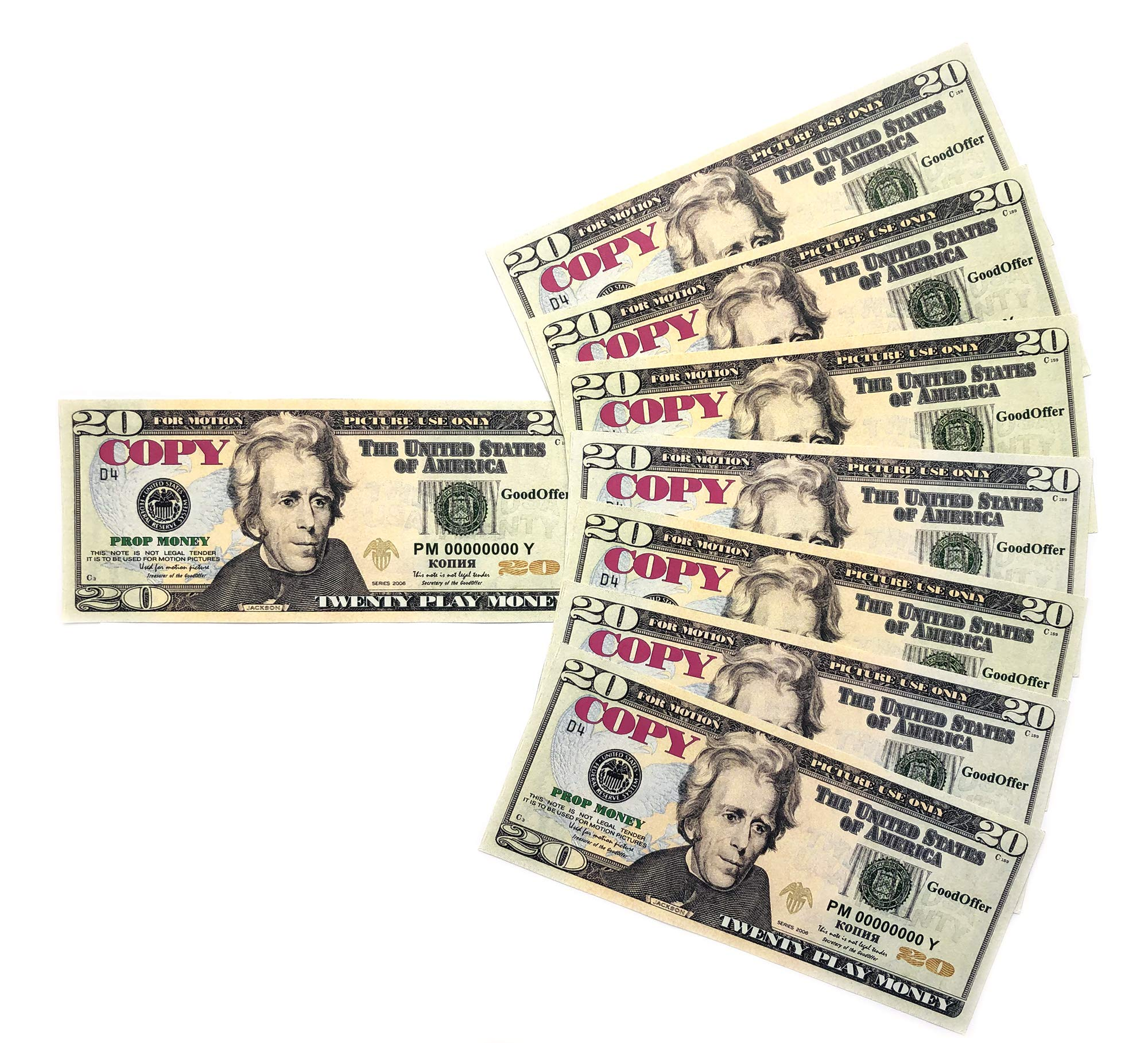 GoodOffer 20 Dollars Play Money - Realistic Prop Money 100 pcs. - Total of $2,000 Copy Money with Two Sides for Pranks, Games, Monopoly - Educational Play Money for Kids - Prop Twenty Dollar Bills by GoodOffer