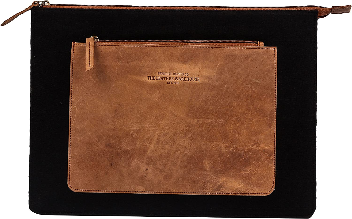 The Leather Warehouse 13 Inch Genuine Leather Laptop Sleeve with Front Pocket / Compartment Handmade Men / Women - Black and Tan