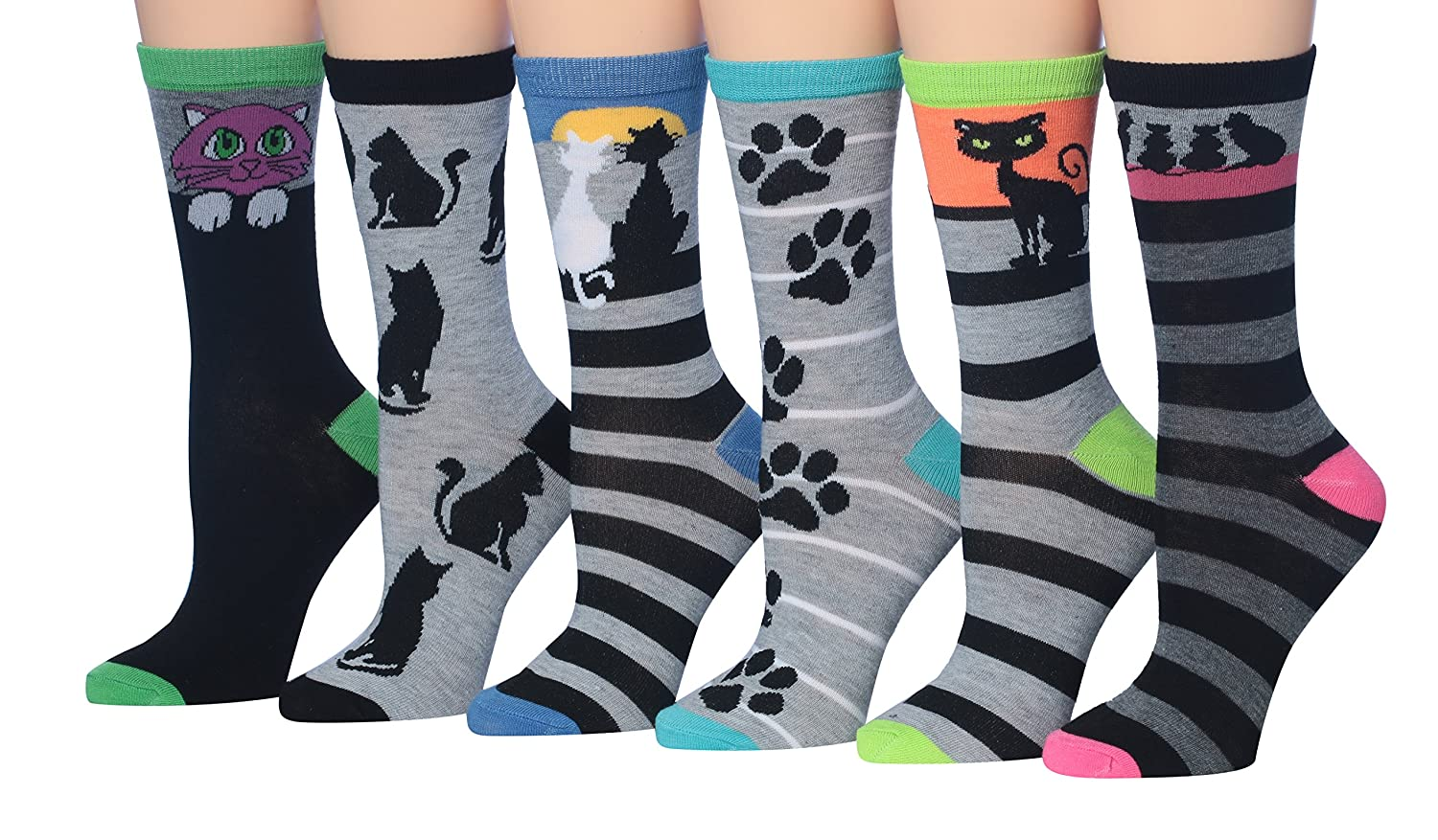 Tipi Toe Women's Fashion Novelty Animal Characters Cartoon Cat Panda Penguin Crew Socks W51-AB