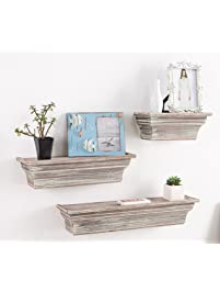 Rustic Torched Wood Wall Mounted Display Floating Shelves, Set of 3, Brown