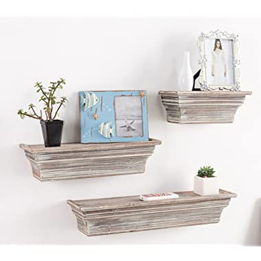 MyGift Rustic Torched Wood Wall Mounted Display Floating Shelves, Set of 3, Brown