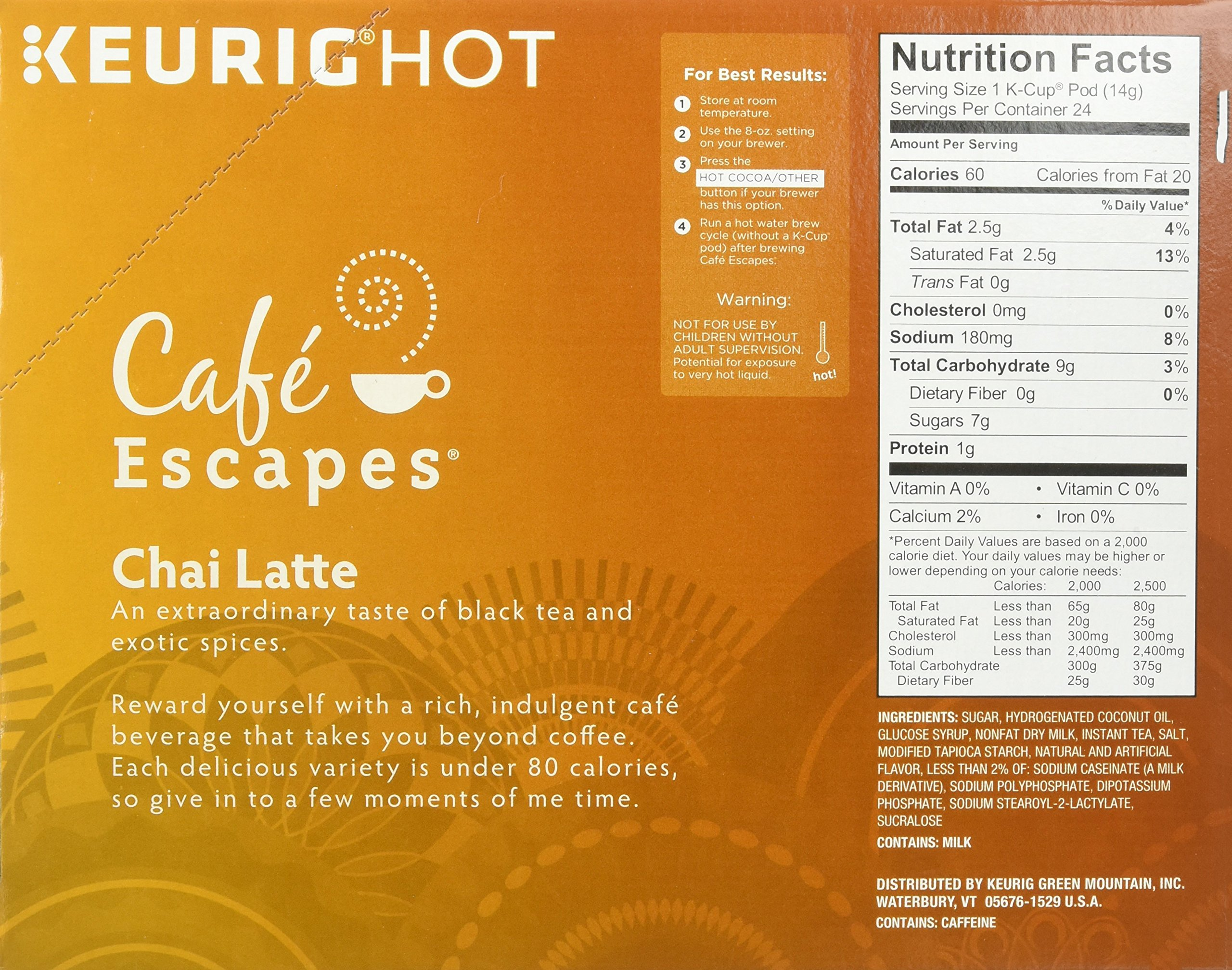 Cafe Escapes Chai Latte K-Cups, 11.7 oz, 96 Count by Café Escapes (Image #7)