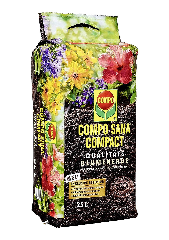 COMPO SANA COMPACT Qualit/äts-Blumenerde mit 12 Wochen D/ünger f/ür alle Zimmer- Balkon- und Gartenpflanzen Braun Kultursubstrat 25 Liter