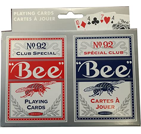 Bee No.92 Standard Index Poker Playing Cards 1 Sealed Red Deck