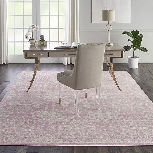 Nourison JUB06 Jubilant Transitional Floral Ivory Pink Area Rug 7 10 x 9 10 , 8 x 10