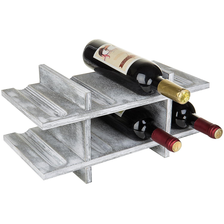 MyGift 8-Bottle Rustic Graywashed Wood Wine Storage Rack