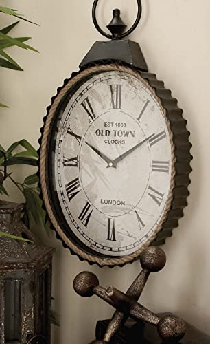 Deco 79 42555 Metal Rope Wall Clock, 12 x 21