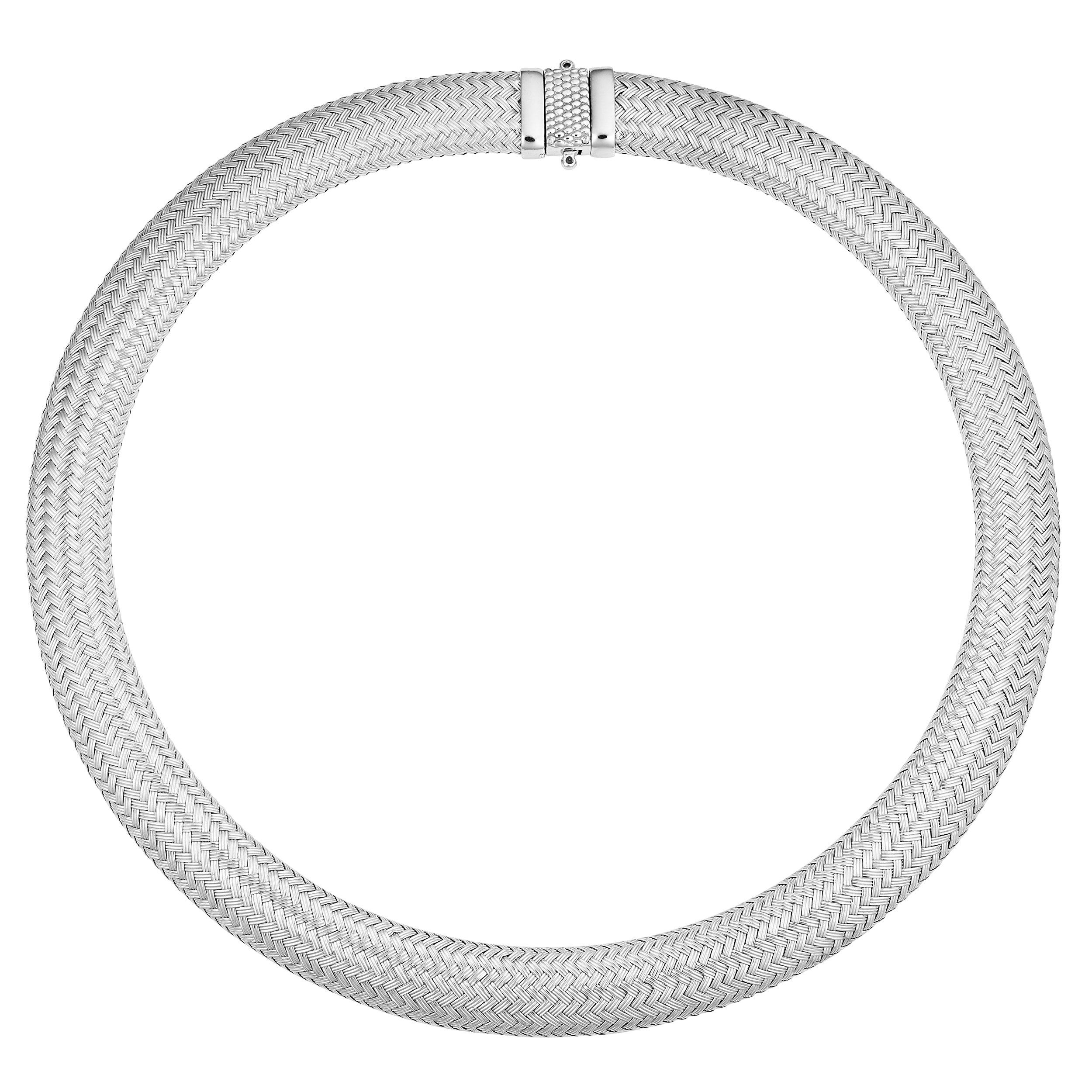 Kooljewelry Sterling Silver Bold Weaved Necklace (14mm, 16.5 inch)