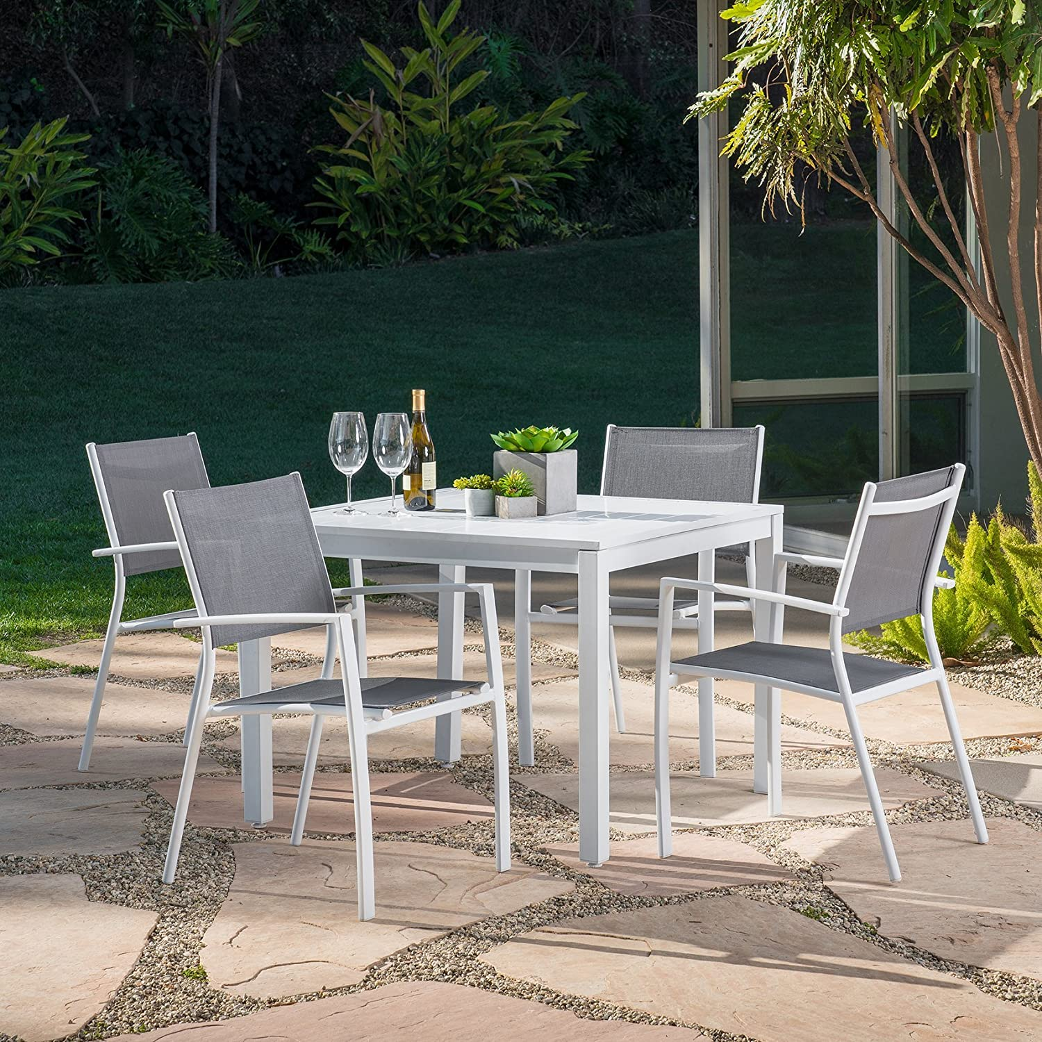 "Mōd Furniture HARPDNS5PCSQ-WHT Harper 5Piece Set with 4 Sling Arm Chairs & A 38"" Square Dining Table Outdoor Furniture, White"
