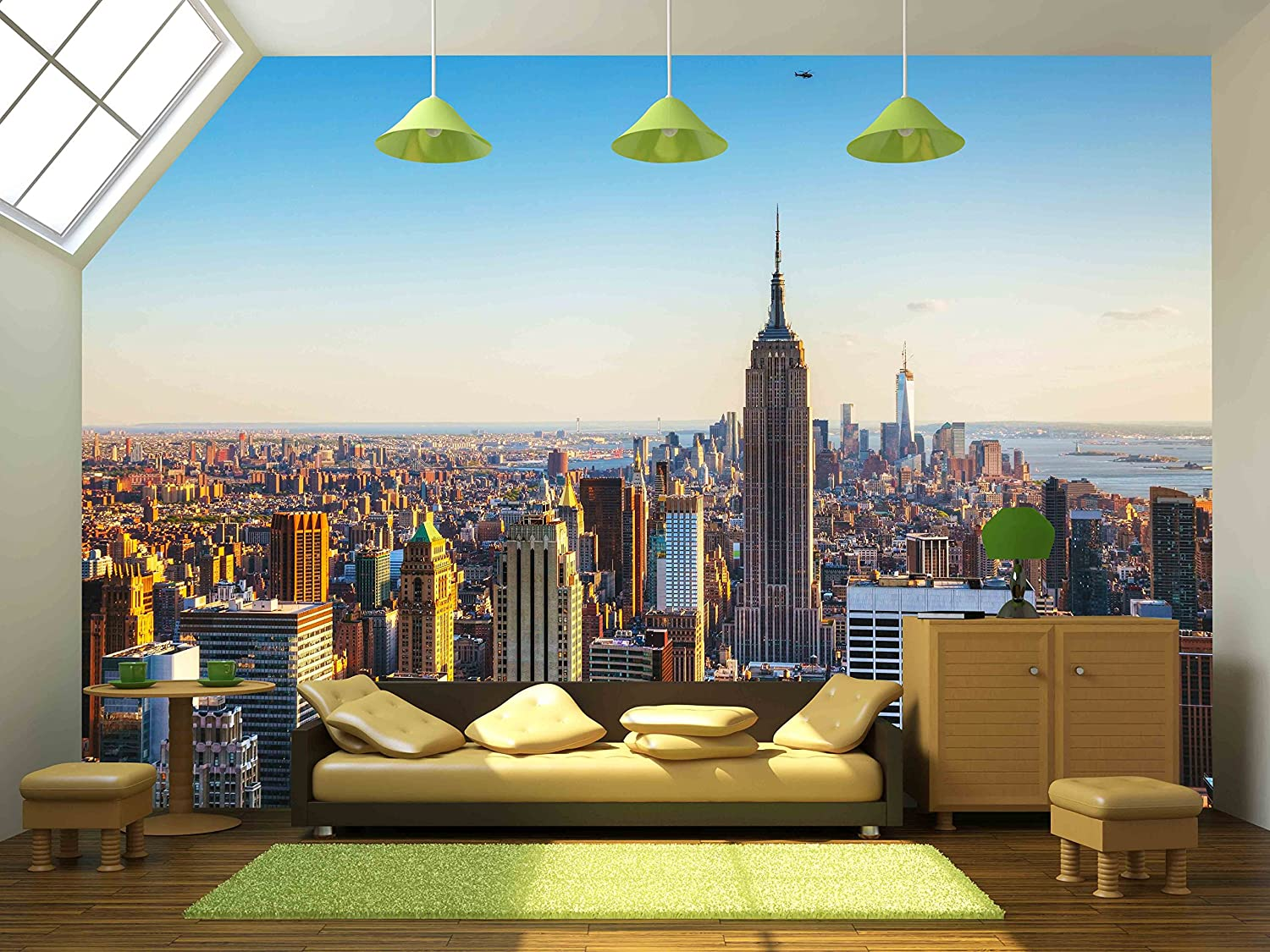 wall26 new york city cityscape on a sunny day removable wall wall26 new york city cityscape on a sunny day removable wall mural self adhesive large wallpaper 66x96 inches amazon com