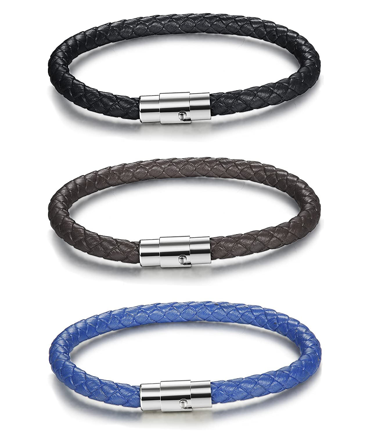 FIBO STEEL 2-3PCS Stainless Steel Braided Leather Bracelet for Men Women Wrist Cuff Bracelet 7.5-8.5 inches Bset744-7.5