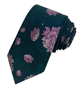 e8853152481c64 TED BAKER London Mens 100% Woven Silk Neck Tie Necktie Green Purple Lilac  Floral Leaves  Amazon.co.uk  Clothing