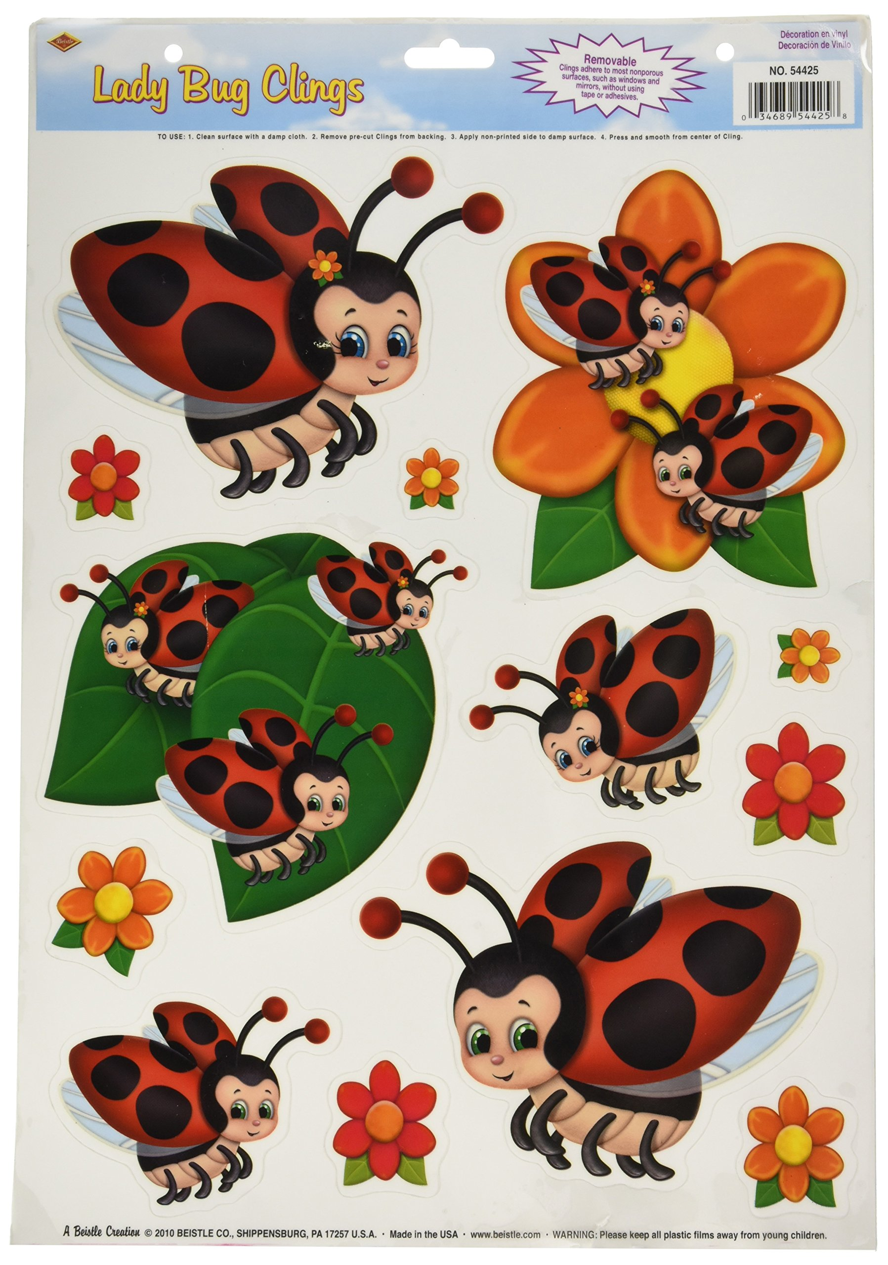 Beistle 54425 Lady Bug Clings, 12 by 17-Inch