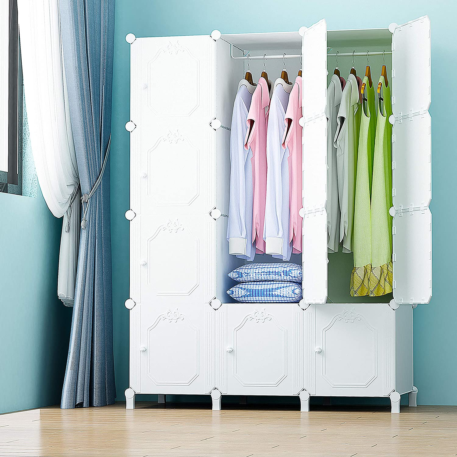 Towels for Home or Office Toys PREMAG Wardrobe Made of Plastic Modules for Storage of Clothes 10 Cubes Accessories or Books