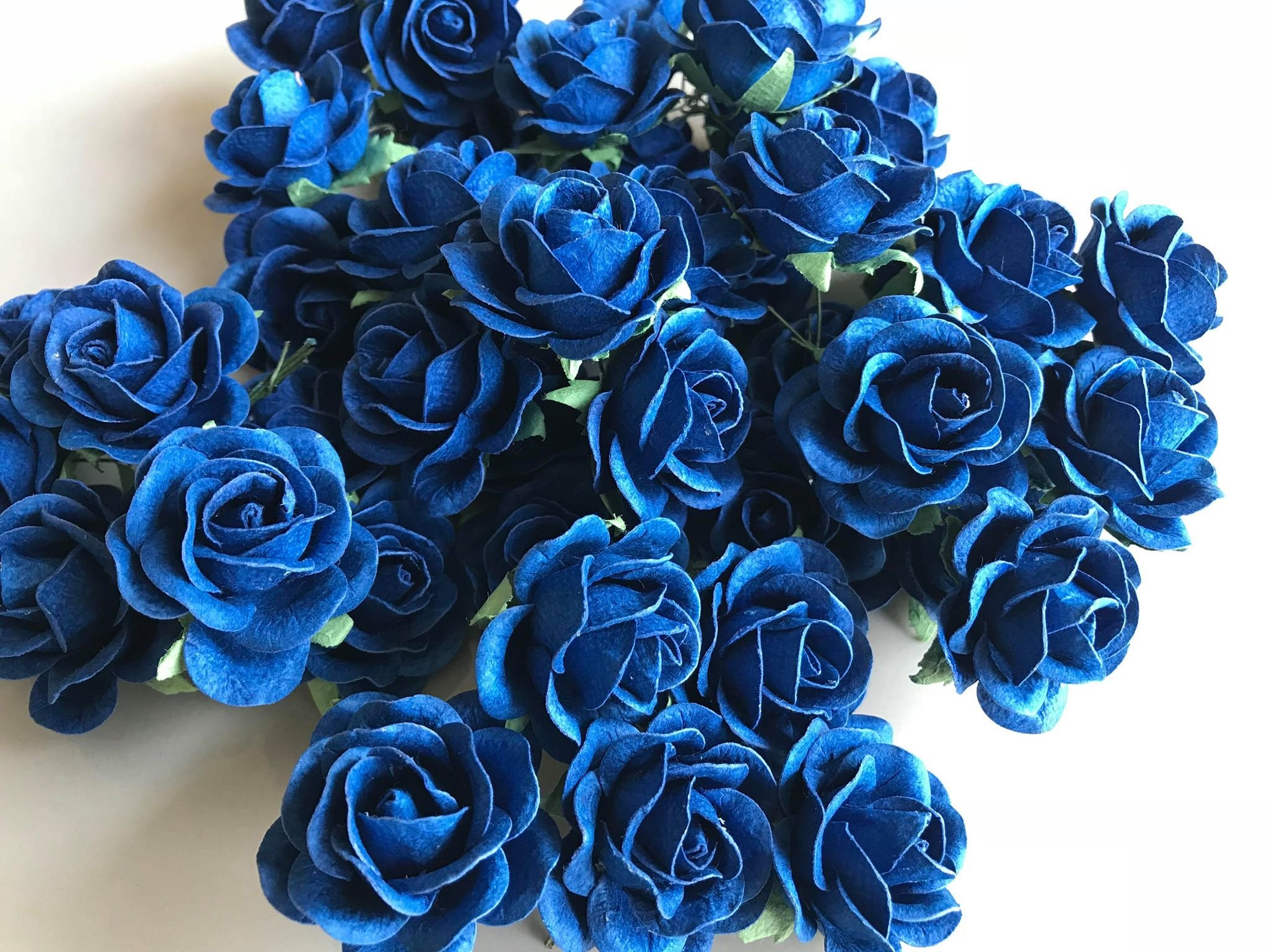 25 pcs Blue Rose Color Mulberry Paper Flower 30mm Scrapbooking Wedding Doll House Supplies Card