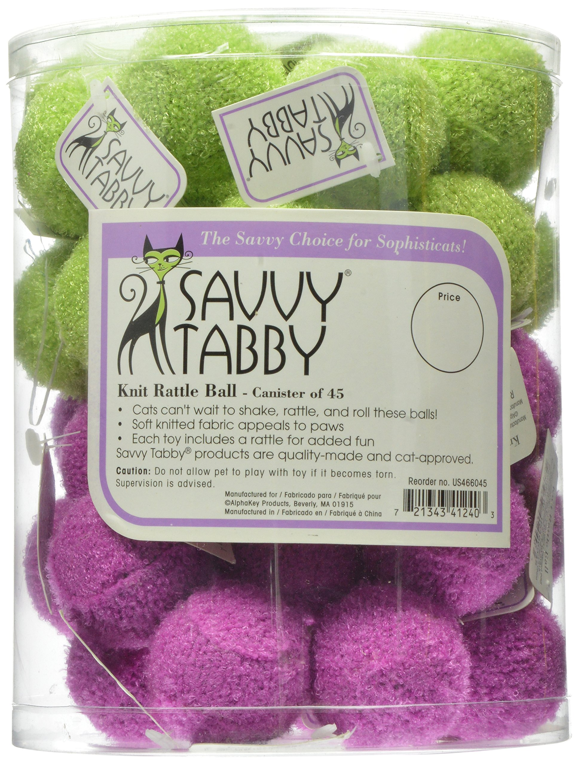 Savvy Tabby US4660 45 45-Piece ST Knit Rattle Ball Canister