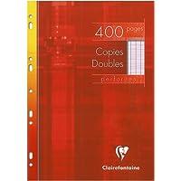 Clairefontaine - 1 étui de 400 feuilles, Copies doubles perforées, A4 (21 x 29,7 cm), grands carreaux, blanc