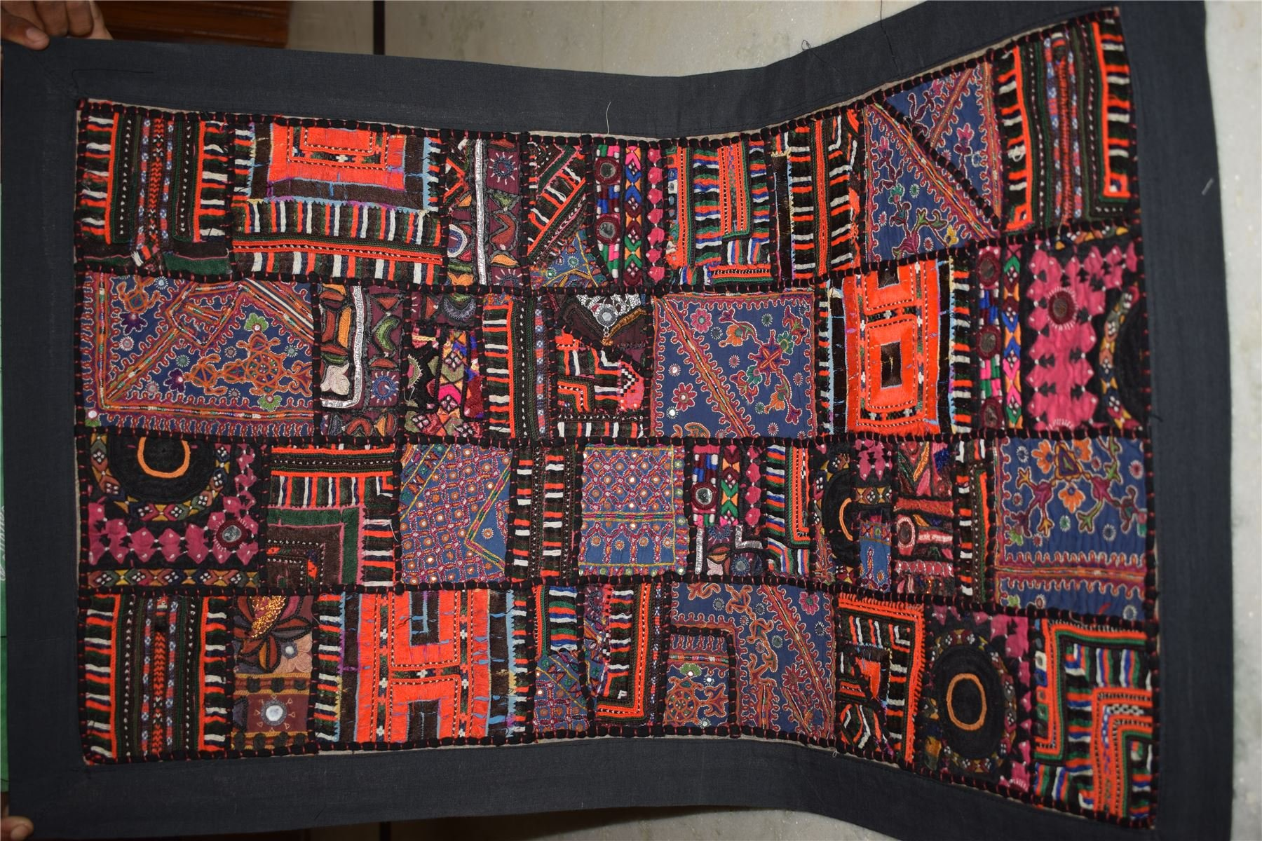 Vintage Tapestry Antique India Handmade Embroidered Patchwork Wall Hanging 96