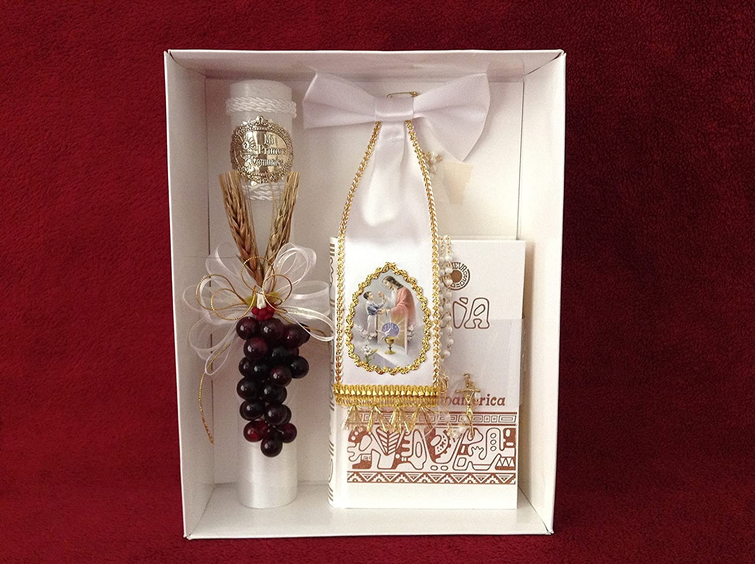 Amazon.com: First Holy Communion Grapes Candle Set for boy ...
