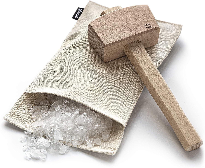 Sac de concassage en toile Sac Lewis et maillet /à glace Bar de glace pil/ée Broyeur /à glace manuel en bois Kit doutils de barman et de cuisine par Epar/é