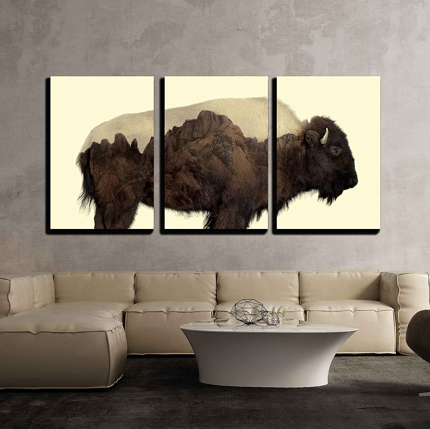 Wall26 art prints framed art canvas prints greeting wall26 3 piece canvas wall art double exposure graphic of a buffalo and rocky mountains modern home decor stretched and framed ready to hang jeuxipadfo Choice Image