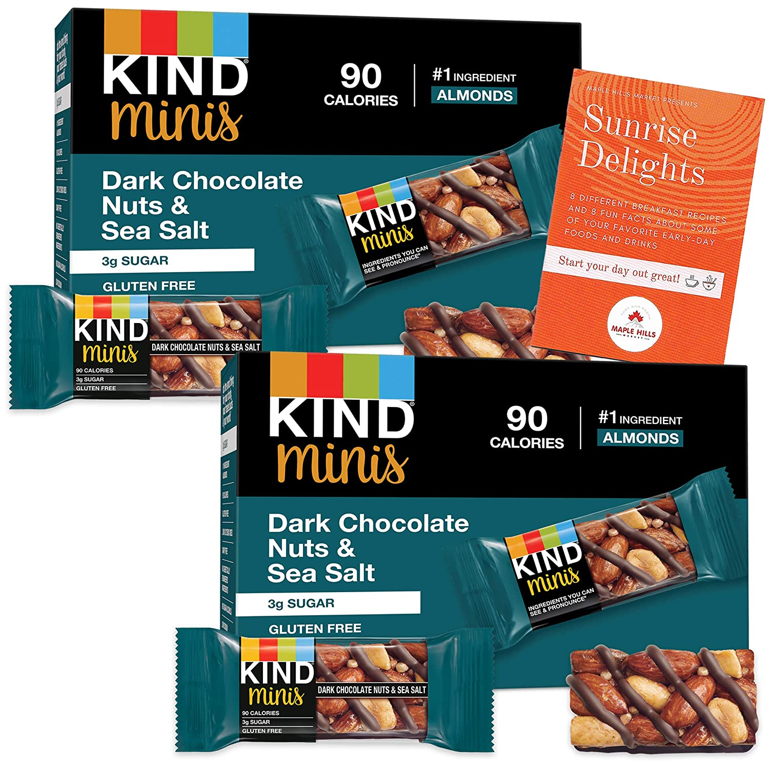 KIND Minis Dark Chocolate Nuts and Sea Salt - 20 Bars Total! - Gluten-Free, Kosher, 0 Trans Fats, Non-GMO, Low Sodium, and a Good Source of Fiber - Bonus Breakfast Fun Facts and Recipe Booklet Inside!