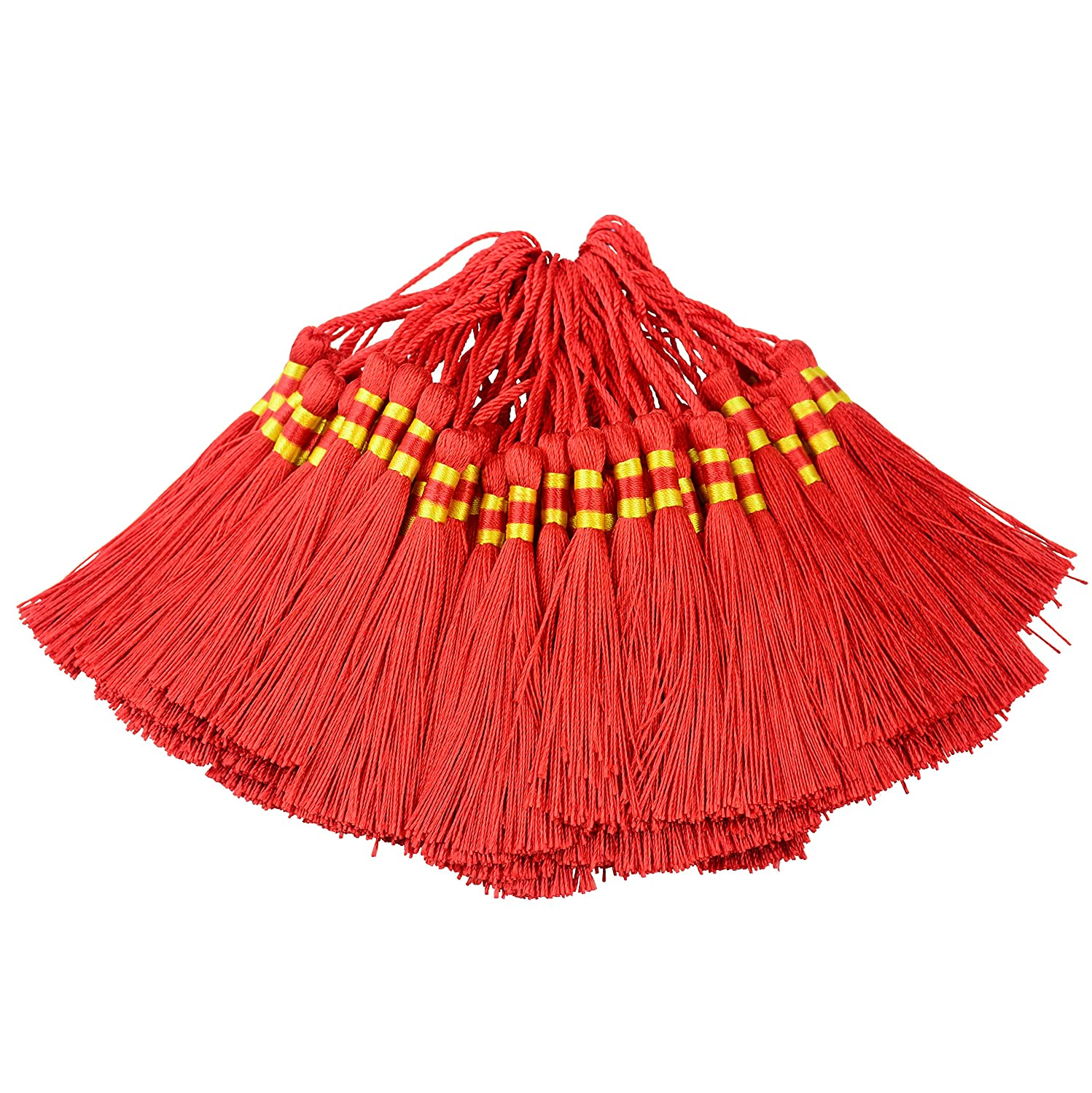 100pcs Triple Colored 14cm/5.5 Inch Silky Floss Bookmark Tassels with 2.16-Inch Cord Loop and Small Chinese Knot for Jewelry Making, Souvenir, Bookmarks, DIY Craft Accessory (Black) Makhry MK-TRPCOL-Black