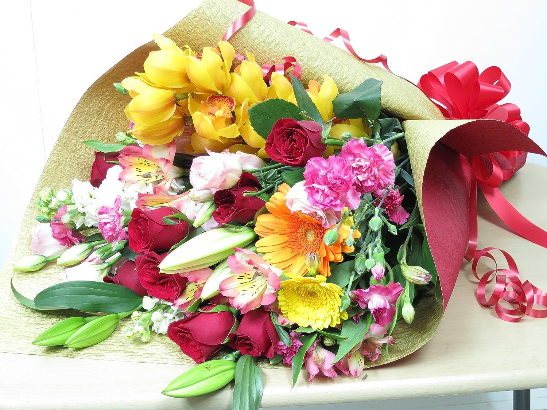 花束 フラワー 花 誕生日 プレゼント 写真はイメージです お花の種類は季節により変わります ラッピングリボンは変更される場合がございます ギフトボックスに入れてお届けします サンモクスイ(商標登録第5497927号)の手作り B00TDFPTZY