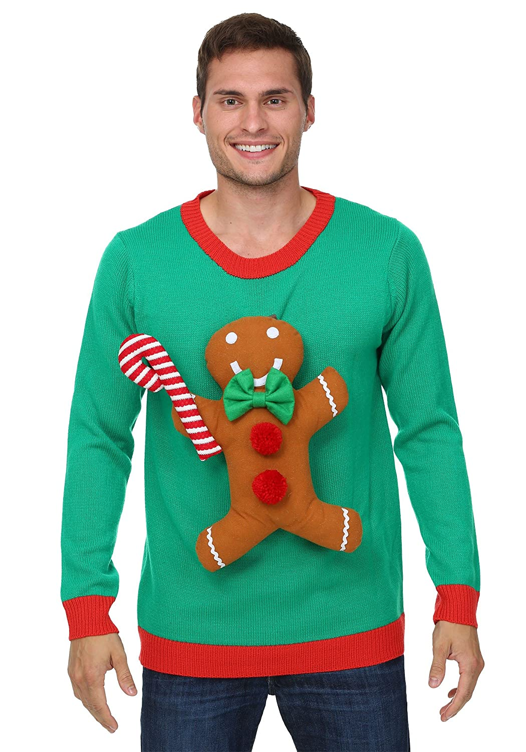 8636583f986e FunComInc 3D Gingerbread Man Ugly Christmas Sweater at Amazon Men s ...