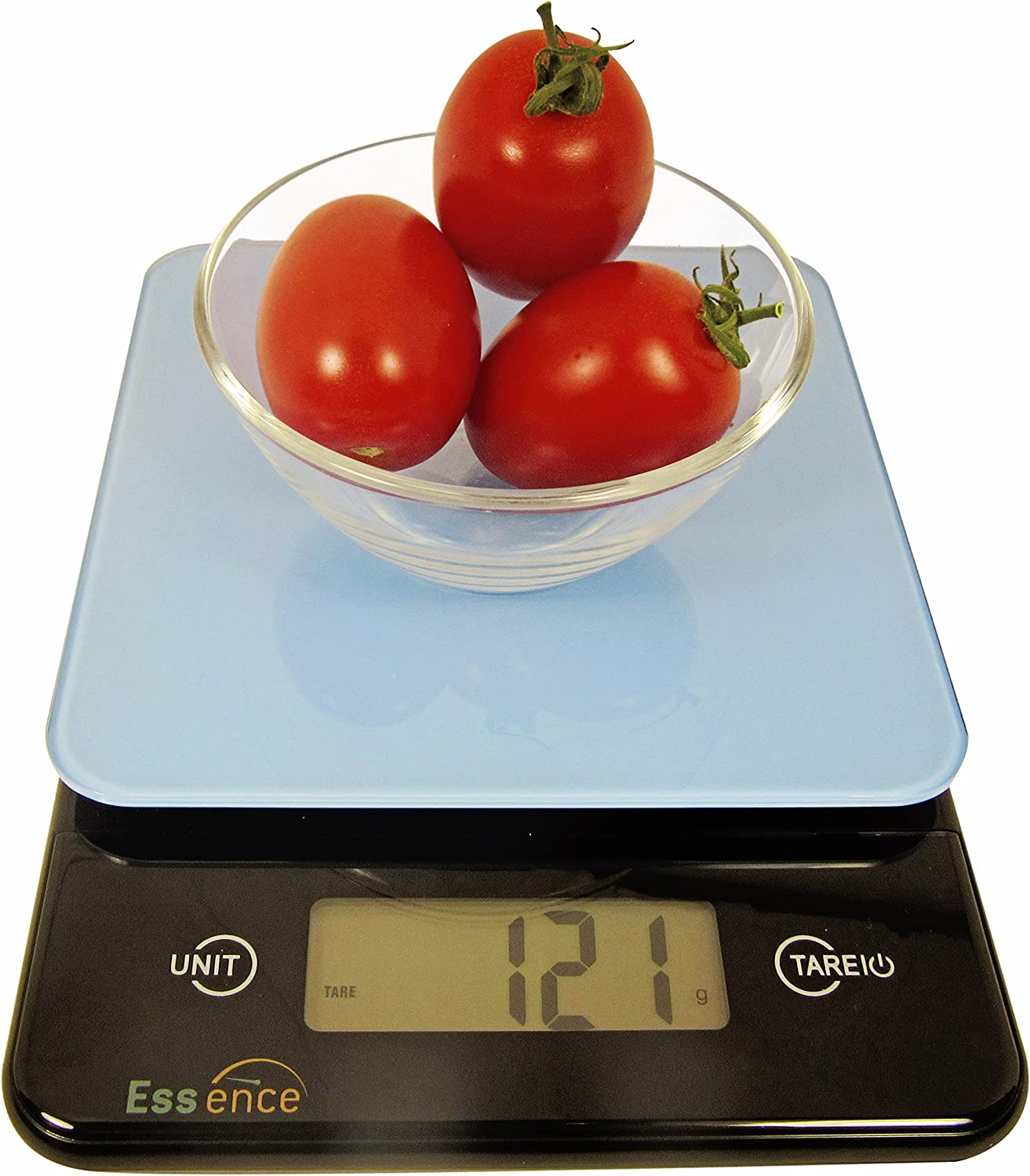 ESSENCE Digital Kitchen and Food Scale, Silver and Blue – No-Hassle Replacement Guarantee (Blue)