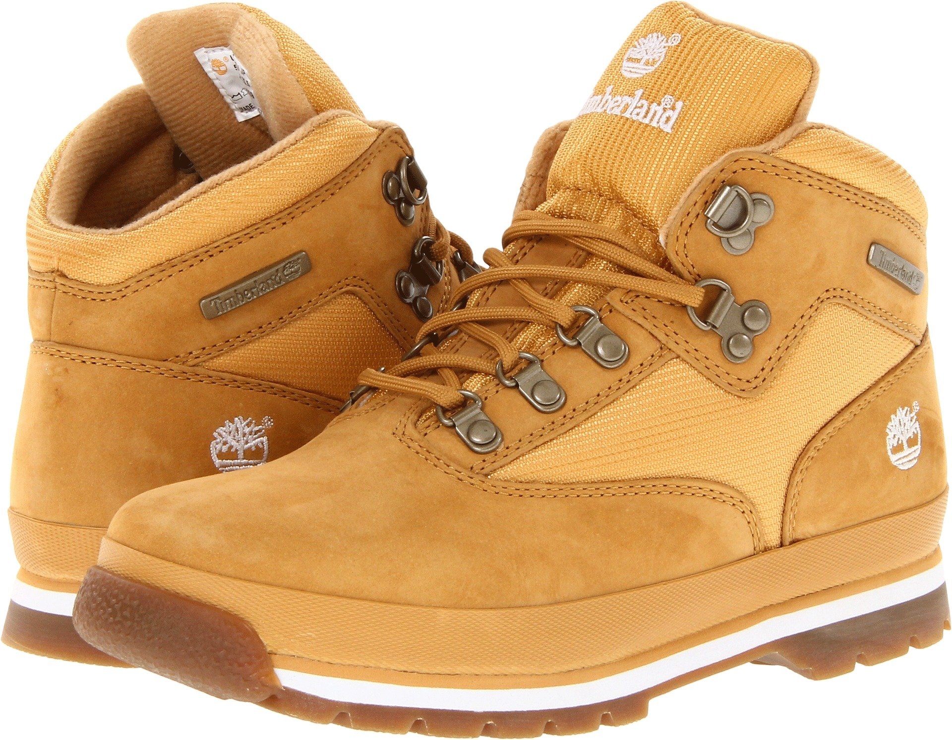 Timberland Boy's EURO Hiker Mid Fabric and Leather Grade School Wheat 7 M