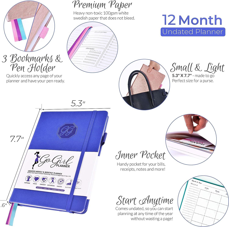 GoGirl Planner Compact 13.5 x 19.5cm Undated Smeraldo senza date Goal Planner /& Organizer for Women