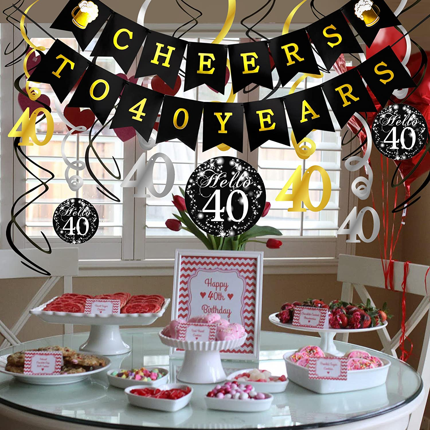40th Birthday Decorations Kit- Konsait Cheers to 40 Years Banner Swallowtail Bunting Garland Sparkling Celebration 40 Hanging Swirls,Perfect 40 Years ...