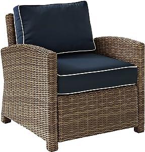 Crosley Furniture KO70023WB-NV Bradenton Outdoor Wicker Arm Chair, Brown with Navy Cushions