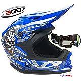 3GO X10-K NIÑOS CRÁNEO DISEÑO MOTOCROSS QUAD ATV ENDURO OFF ROAD CASCO AZUL CON