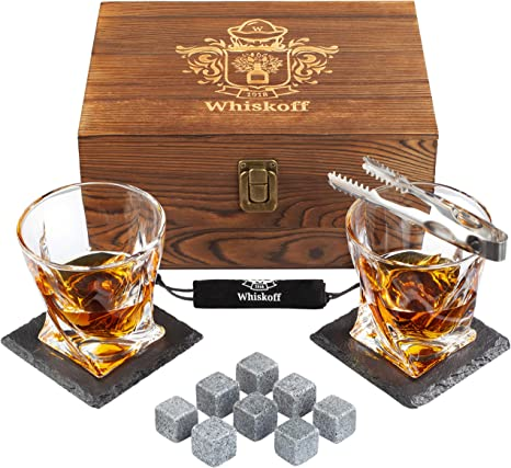 Whiskey Glass Set of 2 - Bourbon Whiskey Stones Gift Set - Rocks Whisky Chilling Stones - Scotch Glassess Gift in Wooden Box