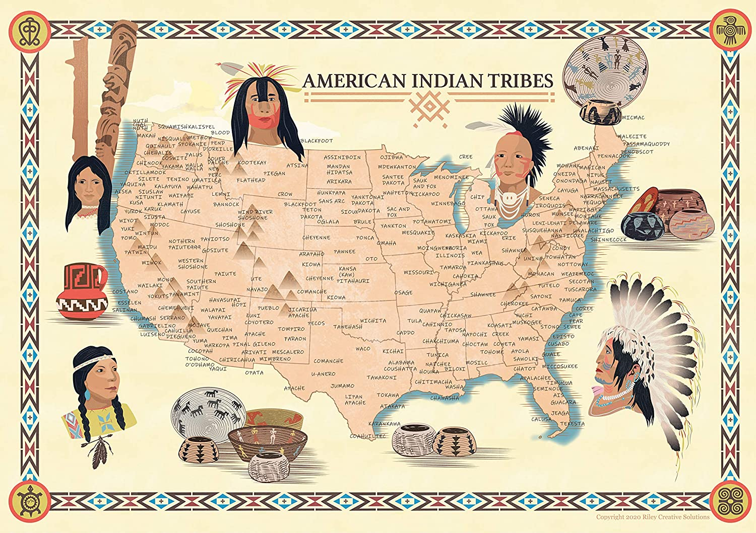 Riley Creative Solutions USA Native American Indian Tribes Map History Poster Territory Tribal Spirit Nation. Wall Art Home Decor (23