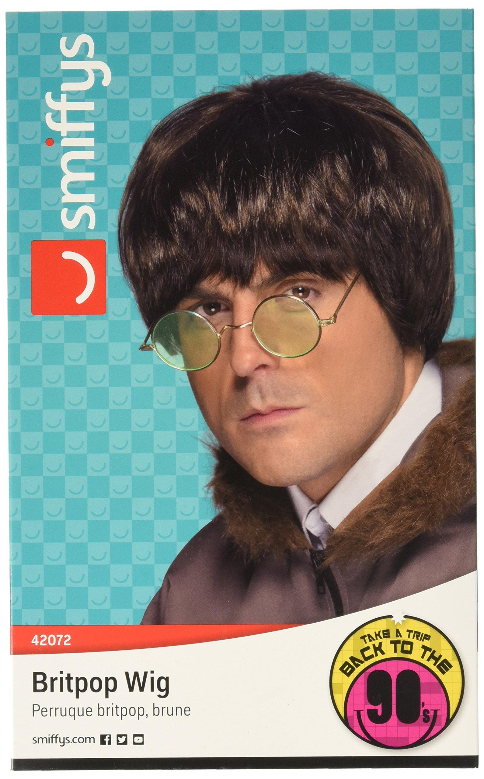 Smiffy's Men's British Popstar Brown Wig, One Size, Britpop Wig, 5020570420720