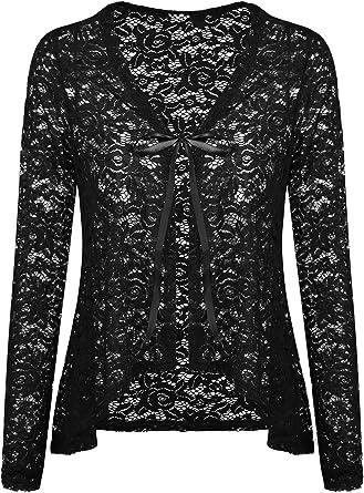 US Women Sheer Lace Half Sleeve Bolero Shrug Open Front Jacket Cardigan Tops JL