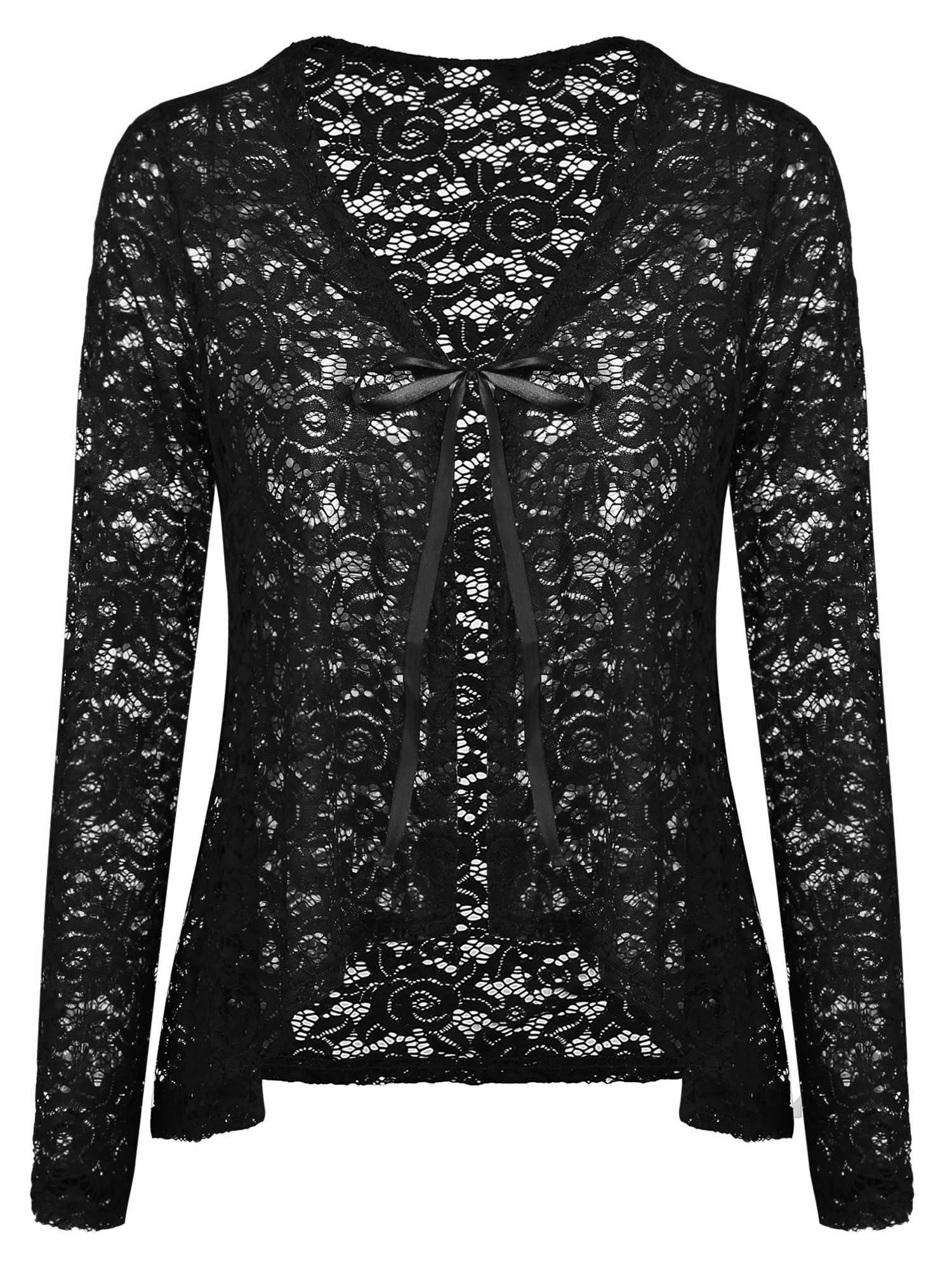 Concep Crochet Cardigan for Ladies Sexy Lace Long Sleeve Open Front Shrug Jacket Cover Ups (Black, XL)
