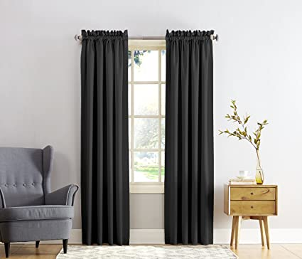Sun Zero Barrow Energy Efficient Rod Pocket Curtain PanelBlack54quot