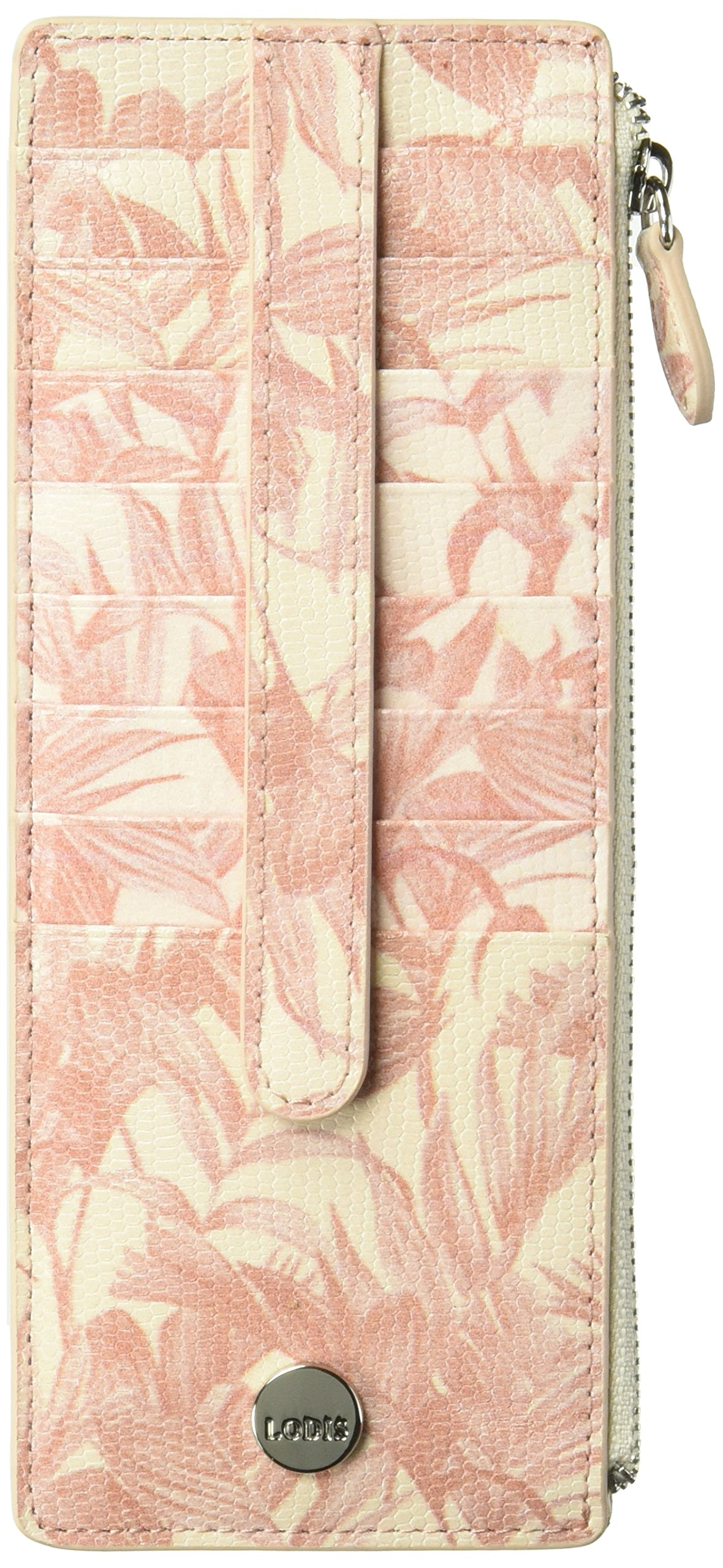Lodis Palm Credit Card Case with Zipper Pocket, Coral