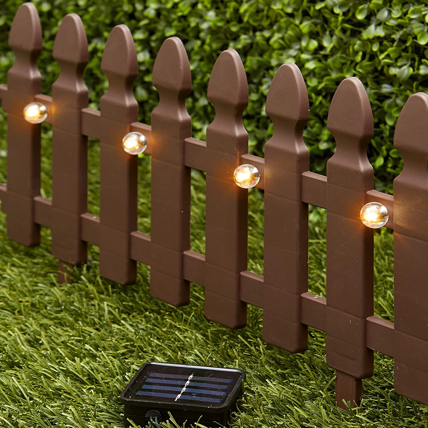 The Lakeside Collection 6-Ft. Solar Border Fence Panel - Garden Landscape Edging Stake - Brown