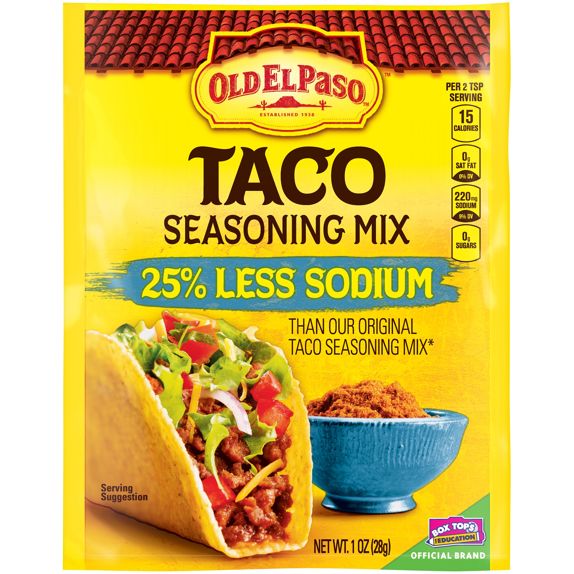 Old El Paso Taco Seasoning Mix, 25% Less Sodium, 1 oz Packet