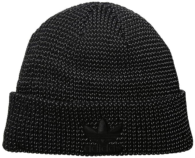 a77e4355 adidas Men's Originals Trefoil Beanie, Black Reflective/Black, One Size