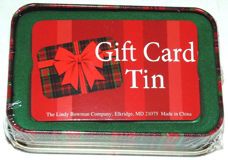 Lindy bowman christmas holiday gift card tin box plaid