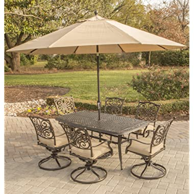Hanover TRADITIONS7PCSW6-SU Traditions 7 Piece Dining Set in Tan Outdoor Furniture, 72 x 38,