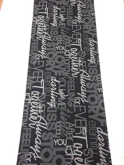 Tappeto cucina grigio nero scritte love antiscivolo life design ...