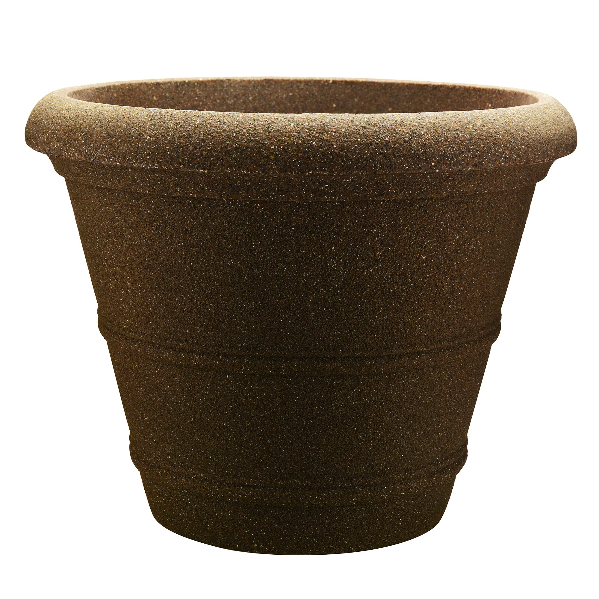 Southern Patio 20'' Veranda Poly-Resin Planter, Granite Brown