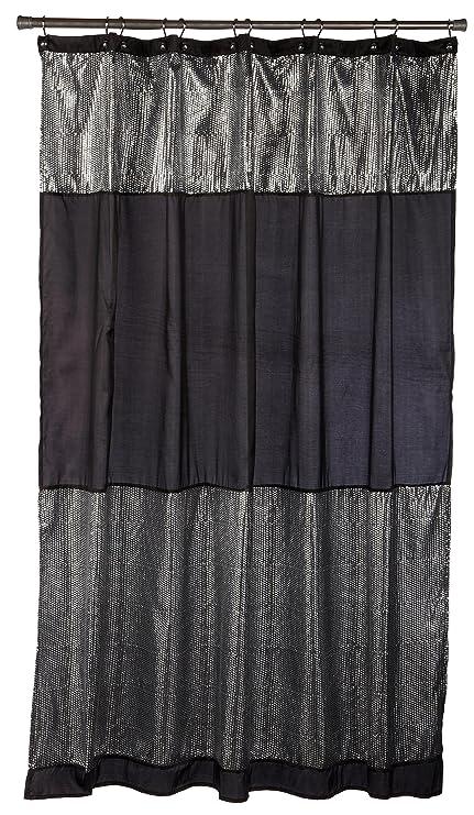 Popular Bath Caprice Black Fabric Shower Curtain